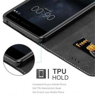 Cadorabo Hülle für Nokia 6 2017 in SCHWARZ BRAUN ? Handyhülle mit Magnetverschluss, Standfunktion und Kartenfach ? Case Cover Schutzhülle Etui Tasche Book Klapp Style - Vorschau 2