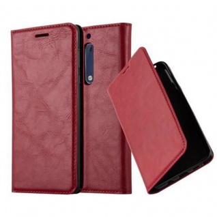 Cadorabo Hülle für Nokia 5 2017 in APFEL ROT - Handyhülle mit Magnetverschluss, Standfunktion und Kartenfach - Case Cover Schutzhülle Etui Tasche Book Klapp Style
