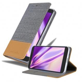 Cadorabo Hülle für Alcatel 3 in HELL GRAU BRAUN Handyhülle mit Magnetverschluss, Standfunktion und Kartenfach Case Cover Schutzhülle Etui Tasche Book Klapp Style