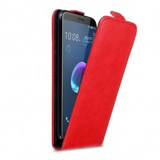 Cadorabo Hülle für HTC Desire 12 in APFEL ROT - Handyhülle im Flip Design mit Magnetverschluss - Case Cover Schutzhülle Etui Tasche Book Klapp Style