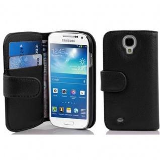 Cadorabo Hülle für Samsung Galaxy S4 MINI - Hülle in OXID SCHWARZ ? Handyhülle mit Kartenfach aus struktriertem Kunstleder - Case Cover Schutzhülle Etui Tasche Book Klapp Style