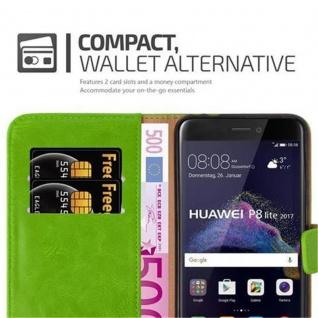 Cadorabo Hülle für Huawei P8 LITE 2017 in GRAS GRÜN ? Handyhülle mit Magnetverschluss, Standfunktion und Kartenfach ? Case Cover Schutzhülle Etui Tasche Book Klapp Style - Vorschau 4