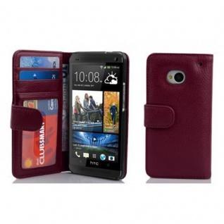 Cadorabo Hülle für HTC ONE M7 (1. Gen.) in BORDEAUX LILA ? Handyhülle mit Magnetverschluss und 3 Kartenfächern ? Case Cover Schutzhülle Etui Tasche Book Klapp Style