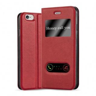 Cadorabo Hülle für Apple iPhone 6 PLUS / iPhone 6S PLUS in SAFRAN ROT - Handyhülle mit Magnetverschluss, Standfunktion und 2 Sichtfenstern - Case Cover Schutzhülle Etui Tasche Book Klapp Style