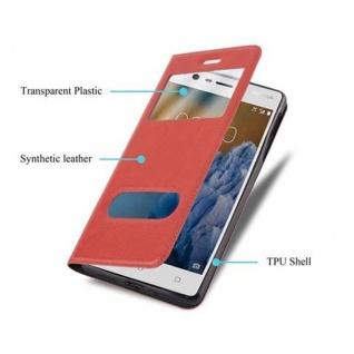 Cadorabo Hülle für Nokia 3 2017 in SAFRAN ROT - Handyhülle mit Magnetverschluss, Standfunktion und 2 Sichtfenstern - Case Cover Schutzhülle Etui Tasche Book Klapp Style - Vorschau 3