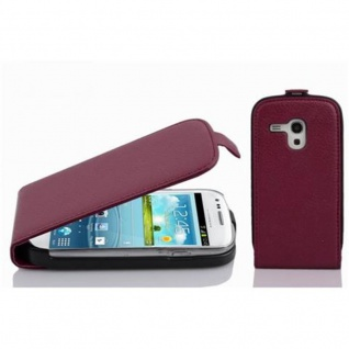 Cadorabo Hülle für Samsung Galaxy S3 MINI - Hülle in BORDEAUX LILA ? Handyhülle aus strukturiertem Kunstleder im Flip Design - Case Cover Schutzhülle Etui Tasche