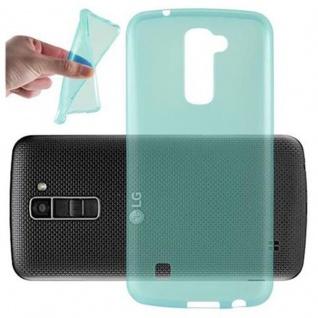 Cadorabo Hülle für LG K10 2016 - Hülle in TRANSPARENT BLAU ? Handyhülle aus TPU Silikon im Ultra Slim 'AIR' Design - Ultra Slim Soft Backcover Case Bumper