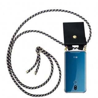 Cadorabo Handy Kette für LG K40 in DUNKELBLAU GELB Silikon Necklace Umhänge Hülle mit Gold Ringen, Kordel Band Schnur und abnehmbarem Etui Schutzhülle