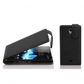 Cadorabo Hülle für Sony Xperia T in OXID SCHWARZ - Handyhülle im Flip Design aus strukturiertem Kunstleder - Case Cover Schutzhülle Etui Tasche Book Klapp Style