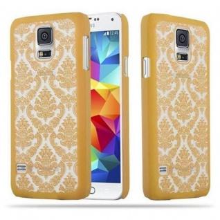 Samsung Galaxy S5 / S5 NEO Hardcase Hülle in GOLD von Cadorabo - Blumen Paisley Henna Design Schutzhülle ? Handyhülle Bumper Back Case Cover