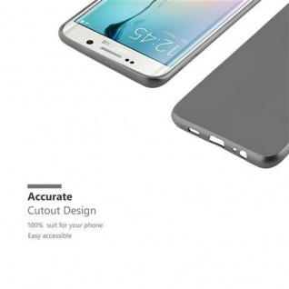 Cadorabo Hülle für Samsung Galaxy S6 EDGE in METALLIC GRAU - Handyhülle aus flexiblem TPU Silikon - Silikonhülle Schutzhülle Ultra Slim Soft Back Cover Case Bumper - Vorschau 2