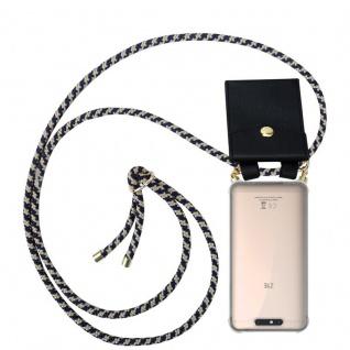 Cadorabo Handy Kette für ZTE Blade V8 in DUNKELBLAU GELB - Silikon Necklace Umhänge Hülle mit Gold Ringen, Kordel Band Schnur und abnehmbarem Etui ? Schutzhülle