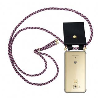 Cadorabo Handy Kette für Huawei NOVA PLUS in ROT WEISS Silikon Necklace Umhänge Hülle mit Gold Ringen, Kordel Band Schnur und abnehmbarem Etui Schutzhülle