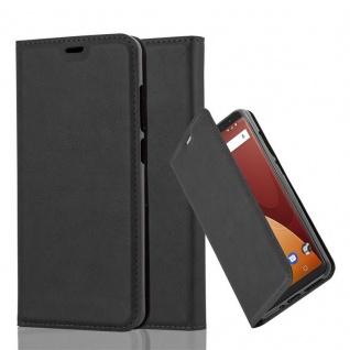 Cadorabo Hülle für WIKO VIEW PRIME in NACHT SCHWARZ Handyhülle mit Magnetverschluss, Standfunktion und Kartenfach Case Cover Schutzhülle Etui Tasche Book Klapp Style
