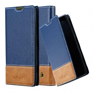 Cadorabo Hülle für Nokia Lumia 520 in DUNKEL BLAU BRAUN ? Handyhülle mit Magnetverschluss, Standfunktion und Kartenfach ? Case Cover Schutzhülle Etui Tasche Book Klapp Style