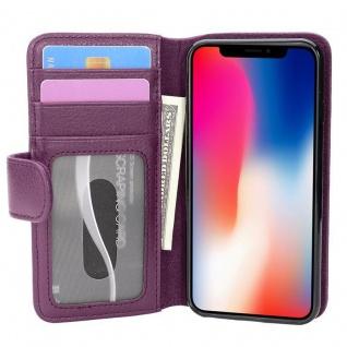 Cadorabo Hülle für Apple iPhone X / XS in BORDEAUX LILA ? Handyhülle mit Magnetverschluss und 3 Kartenfächern ? Case Cover Schutzhülle Etui Tasche Book Klapp Style - Vorschau 3