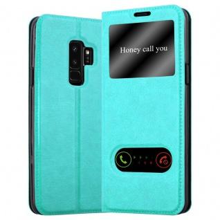 Cadorabo Hülle für Samsung Galaxy S9 PLUS in MINT TÜRKIS - Handyhülle mit Magnetverschluss, Standfunktion und 2 Sichtfenstern - Case Cover Schutzhülle Etui Tasche Book Klapp Style
