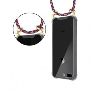 Cadorabo Handy Kette für Apple iPhone 8 PLUS / 7 PLUS / 7S PLUS in ROT BLAU WEISS - Silikon Necklace Umhänge Hülle mit Gold Ringen, Kordel Band Schnur und abnehmbarem Etui ? Schutzhülle - Vorschau 5