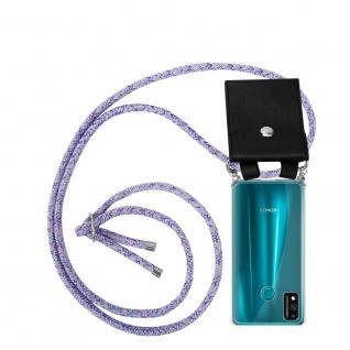 Cadorabo Handy Kette für Honor 9x Lite in UNICORN Silikon Necklace Umhänge Hülle mit Silber Ringen, Kordel Band Schnur und abnehmbarem Etui Schutzhülle