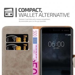Cadorabo Hülle für Nokia 6 2017 in CAPPUCCINO BRAUN ? Handyhülle mit Magnetverschluss, Standfunktion und Kartenfach ? Case Cover Schutzhülle Etui Tasche Book Klapp Style - Vorschau 3