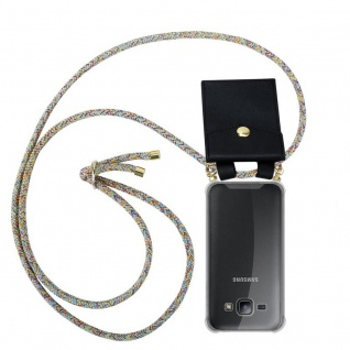 Cadorabo Handy Kette für Samsung Galaxy J1 2015 in RAINBOW - Silikon Necklace Umhänge Hülle mit Gold Ringen, Kordel Band Schnur und abnehmbarem Etui ? Schutzhülle