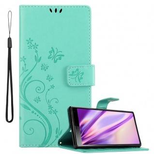 Cadorabo Hülle für Sony Xperia 10 / Xperia XA3 in FLORAL TÜRKIS Handyhülle im Blumen Design mit Magnetverschluss, Standfunktion und 3 Kartenfächern Case Cover Schutzhülle Etui Tasche