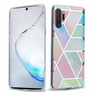 Cadorabo Hülle für Samsung Galaxy NOTE 10 PRO Hülle in Regenbogen Marmor No.11 Handyhülle aus TPU Silikon mit Muster Mosaik Silikonhülle Schutzhülle Ultra Slim Back Cover Case Bumper