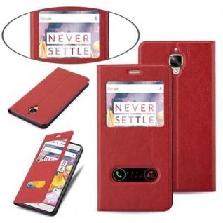Cadorabo Hülle für OnePlus 3 / 3T in SAFRAN ROT - Handyhülle mit Magnetverschluss, Standfunktion und 2 Sichtfenstern - Case Cover Schutzhülle Etui Tasche Book Klapp Style - Vorschau 4