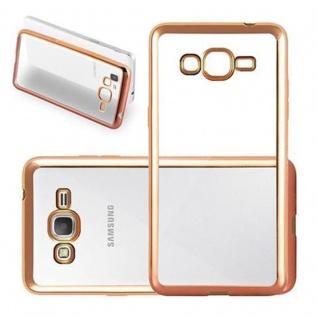Cadorabo Hülle für Samsung Galaxy GRAND PRIME - Hülle in TRANSPARENT mit CHROM GOLD - Handyhülle aus TPU Silikon im Chrom Design - Silikonhülle Schutzhülle Ultra Slim Soft Back Cover Case Bumper