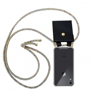 Cadorabo Handy Kette für Apple iPhone XR in RAINBOW - Silikon Necklace Umhänge Hülle mit Gold Ringen, Kordel Band Schnur und abnehmbarem Etui ? Schutzhülle