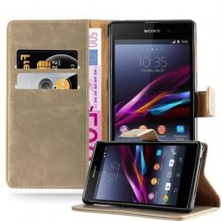 Cadorabo Hülle für Sony Xperia Z1 in CAPPUCINO BRAUN - Handyhülle mit Magnetverschluss, Standfunktion und Kartenfach - Case Cover Schutzhülle Etui Tasche Book Klapp Style