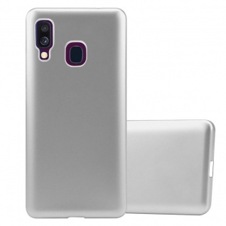 Cadorabo Hülle für Samsung Galaxy A40 in METALLIC SILBER - Handyhülle aus flexiblem TPU Silikon - Silikonhülle Schutzhülle Ultra Slim Soft Back Cover Case Bumper