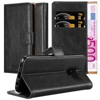 Cadorabo Hülle für Samsung Galaxy S9 in GRAPHIT SCHWARZ Handyhülle mit Magnetverschluss, Standfunktion und Kartenfach Case Cover Schutzhülle Etui Tasche Book Klapp Style