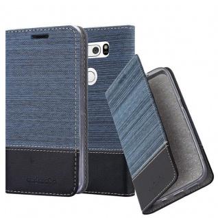Cadorabo Hülle für LG V30 in DUNKEL BLAU SCHWARZ - Handyhülle mit Magnetverschluss, Standfunktion und Kartenfach - Case Cover Schutzhülle Etui Tasche Book Klapp Style
