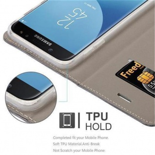 Cadorabo Hülle für Samsung Galaxy J3 2017 in GRAU SCHWARZ - Handyhülle mit Magnetverschluss, Standfunktion und Kartenfach - Case Cover Schutzhülle Etui Tasche Book Klapp Style - Vorschau 3