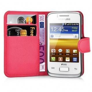 Cadorabo Hülle für Samsung Galaxy YOUNG 2 in KARMIN ROT - Handyhülle mit Magnetverschluss, Standfunktion und Kartenfach - Case Cover Schutzhülle Etui Tasche Book Klapp Style