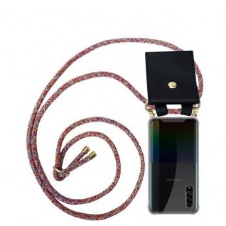 Cadorabo Handy Kette für Samsung Galaxy A90 5G in COLORFUL PARROT Silikon Necklace Umhänge Hülle mit Gold Ringen, Kordel Band Schnur und abnehmbarem Etui Schutzhülle