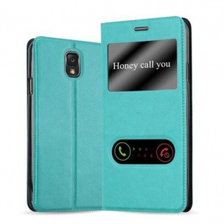 Cadorabo Hülle für Samsung Galaxy NOTE 3 in MINT TÜRKIS - Handyhülle mit Magnetverschluss, Standfunktion und 2 Sichtfenstern - Case Cover Schutzhülle Etui Tasche Book Klapp Style