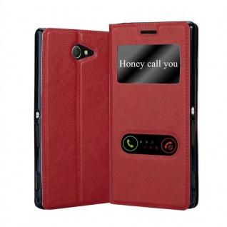 Cadorabo Hülle für Sony Xperia M2 / M2 Aqua in SAFRAN ROT - Handyhülle mit Magnetverschluss, Standfunktion und 2 Sichtfenstern - Case Cover Schutzhülle Etui Tasche Book Klapp Style