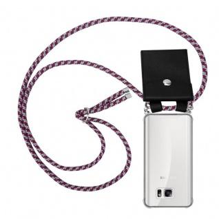 Cadorabo Handy Kette für Samsung Galaxy NOTE 5 in ROT WEISS - Silikon Necklace Umhänge Hülle mit Silber Ringen, Kordel Band Schnur und abnehmbarem Etui - Schutzhülle