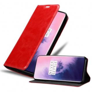 Cadorabo Hülle für OnePlus 7 PRO in APFEL ROT Handyhülle mit Magnetverschluss, Standfunktion und Kartenfach Case Cover Schutzhülle Etui Tasche Book Klapp Style - Vorschau 1