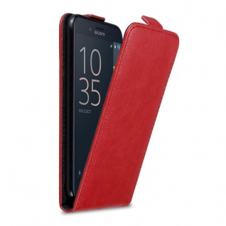Cadorabo Hülle für Sony Xperia X COMPACT in APFEL ROT - Handyhülle im Flip Design mit Magnetverschluss - Case Cover Schutzhülle Etui Tasche Book Klapp Style