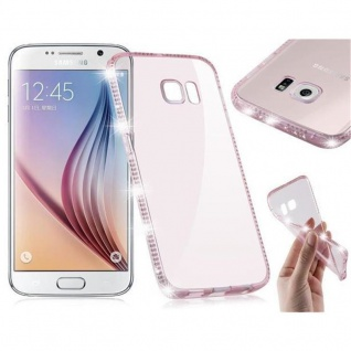 Cadorabo Hülle für Samsung Galaxy S6 - Hülle in TRANSPARENT ROSA - Handyhülle aus TPU Silikon im Strass Design - Silikonhülle Schutzhülle Ultra Slim Soft Back Cover Case Bumper