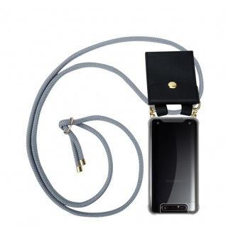 Cadorabo Handy Kette für Samsung Galaxy A80 / A90 in SILBER GRAU Silikon Necklace Umhänge Hülle mit Gold Ringen, Kordel Band Schnur und abnehmbarem Etui Schutzhülle