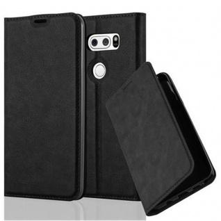 Cadorabo Hülle für LG V30 in NACHT SCHWARZ Handyhülle mit Magnetverschluss, Standfunktion und Kartenfach Case Cover Schutzhülle Etui Tasche Book Klapp Style