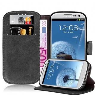 Cadorabo Hülle für Samsung Galaxy S3 / S3 NEO - Hülle in MATT SCHWARZ - Handyhülle mit Standfunktion und Kartenfach im Retro Design - Case Cover Schutzhülle Etui Tasche Book Klapp Style