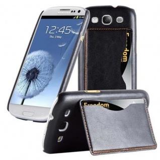 Cadorabo Hülle für Samsung Galaxy S3 / S3 NEO - Hülle in SCHWARZ ? Handyhülle mit Kartenfach und Standfunktion - Hardcase Bumper Back Case Cover