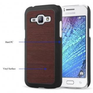 Cadorabo Hülle für Samsung Galaxy J1 2015 in WOODY KAFFEE ? Hardcase Handyhülle aus Plastik gegen Kratzer und Stöße ? Schutzhülle Bumper Ultra Slim Back Case Hard Cover - Vorschau 3