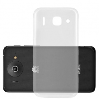 Cadorabo Hülle für Huawei ASCEND G510 in VOLL TRANSPARENT - Handyhülle aus flexiblem TPU Silikon - Silikonhülle Schutzhülle Ultra Slim Soft Back Cover Case Bumper