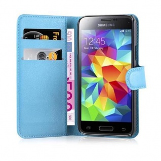 Cadorabo Hülle für Samsung Galaxy S5 MINI / S5 MINI DUOS in PASTEL BLAU - Handyhülle mit Magnetverschluss, Standfunktion und Kartenfach - Case Cover Schutzhülle Etui Tasche Book Klapp Style - Vorschau 2